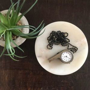 H&M Brushed Metal Whistle Timepiece Necklace